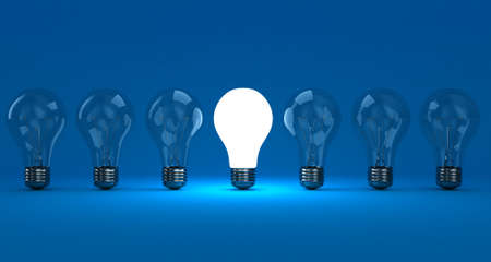 especial: A row lamps with one shining on a blue background