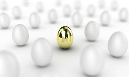 Illustration of gold egg among many white Stock Illustration - 13055224