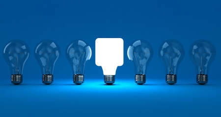 conceptual bulb: A row lamps with one shining on a blue background