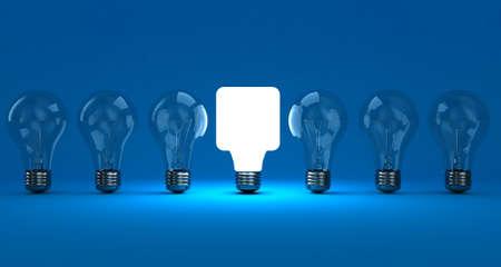 Eine Reihe Lampen mit einem leuchtenden auf einem blauen Hintergrund