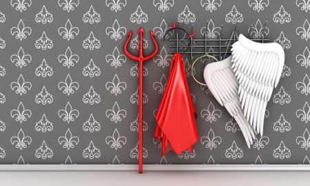 heaven and hell: Illustration of different religious costumes on a hanger