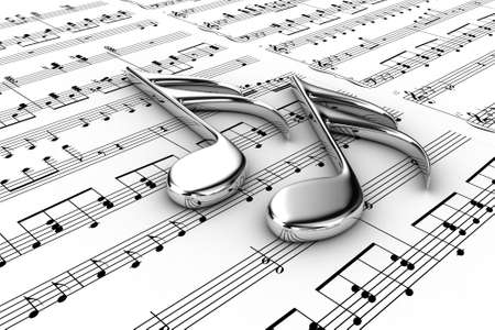 Two musical note on a  background written notes Stock Photo - 13071608