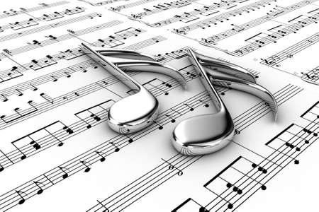 Zwei musikalische Note auf einem Hintergrund schriftliche Notizen