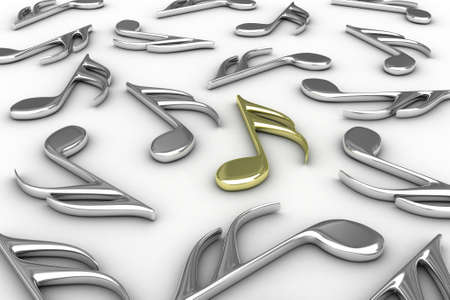 musical instrument symbol: Many musical notes lies on a  white background Stock Photo
