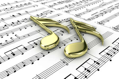 Two musical note on a  background written notes Stock Photo - 13133683