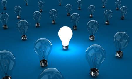 Viele Lampen mit einem leuchtenden auf einem blauen Hintergrund
