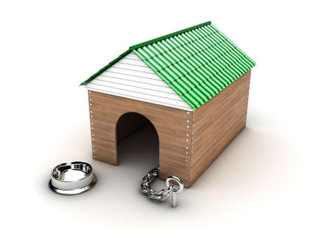 animal shelter: Illustration of a new wooden doghouse on a white background