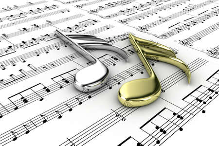 key signature: Two musical note on a  background written notes