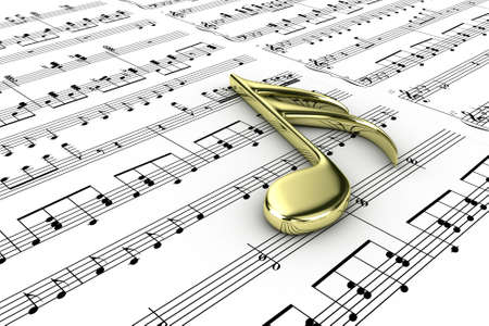 Gold musical note on a  background written notes Stock Photo - 13223268