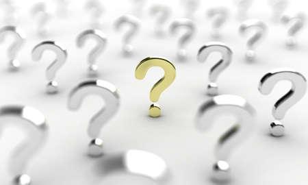 Illustration von vielen Anzeichen Frage auf weißem Hintergrund