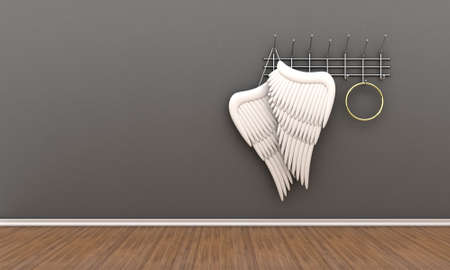 guardian angel: Illustration of wings of an angel and nimbus on a hanger Stock Photo