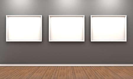 galeria fotografica: Ilustraci�n de una habitaci�n con una serie de im�genes de color blanco para unas fotos