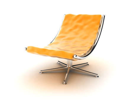 metal legs: Illustration of an orange armchair on a white background