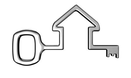 lock symbol: Illustration of a house key on a white background