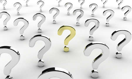 questioning: Illustration of many question signs on a white background