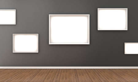 gallery wall: Illustration of a room with a white frames for a pictures
