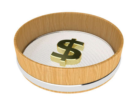 sifting: Illustration of sieve with money on a white background