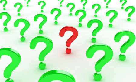 unclear: Illustration of many question signs on a white background