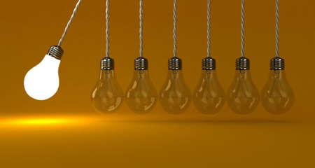 Illustration of the pendulum from lamps on a orange background illustration