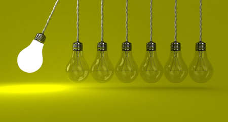 conceptual bulb: Illustration of the pendulum from lamps on a yellow background