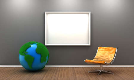 Illustration of a room with planet and modern interior illustration