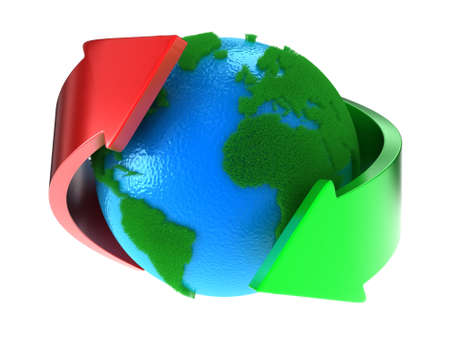 cleaning planet: Planet Earth with green continents with arrows around Stock Photo