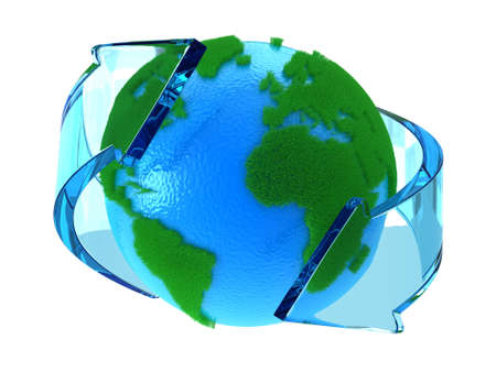 international recycle symbol: Planet Earth with green continents with arrows around Stock Photo