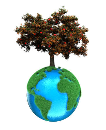 Illustration of a planet with a tree on a white background illustration