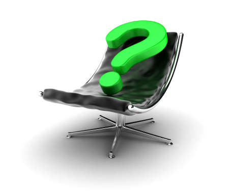 questionable: Illustration of an black armchair with a question sign