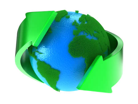 Planet Earth with green continents with arrows around Stockfoto