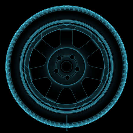 drive nail: Illustration of a x-ray of a wheel with a sharp nail Stock Photo