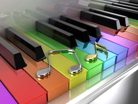 The white piano with keys of different colours of a rainbow