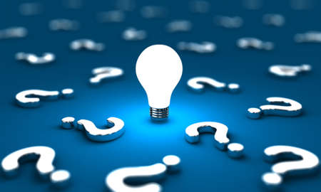 Many questions with one lightbulb on a blue background