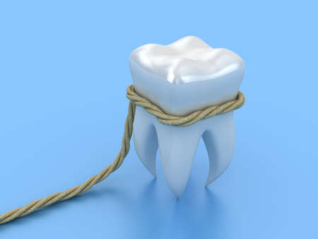 Illustration of human tooth in a loop on a blue background