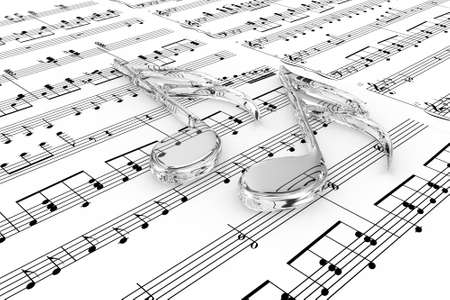 Glass musical notes on a  background written notes Stock Photo - 14115474
