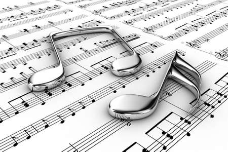 Silver musical notes on a  background written notes photo