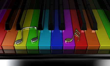 The black piano with keys of different colours of a rainbow photo