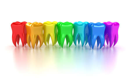Illustration of a row multicoloured teeth on a white background Imagens