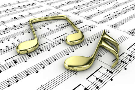 Gold musical notes on a  background written notes Stock Photo - 14199927