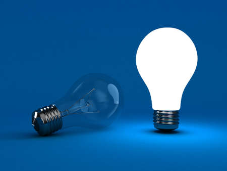 individuality: Illustration of a bright lamp against other switched off Stock Photo