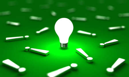 loudly: Many exclamation mark with one lightbulb on a green background Stock Photo