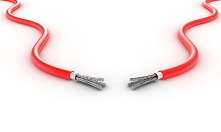 high voltage: Illustration of two electric wires against a white background Stock Photo