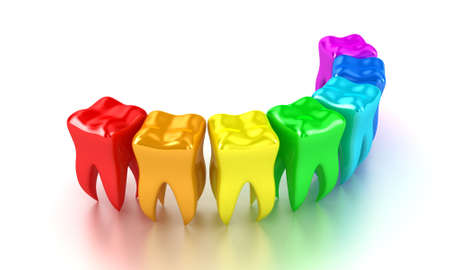 cavities: Illustration of a row multicoloured teeth on a white background Stock Photo