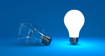 switched: Illustration of a bright lamp against other switched off Stock Photo