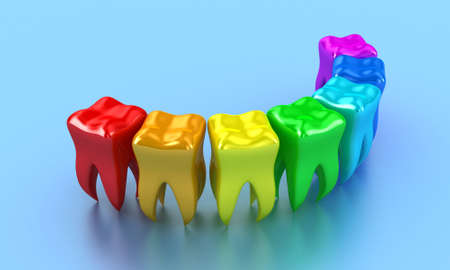 Illustration of a row multicoloured teeth on a blue background Stock Illustration - 14241725