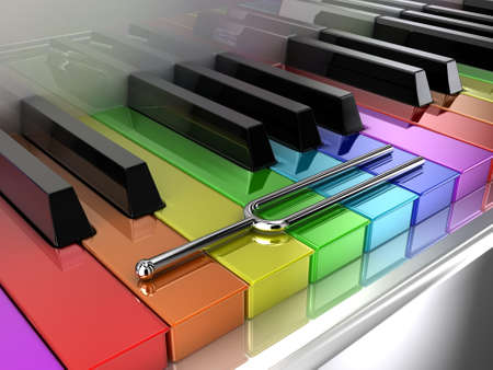 sounding: Illustration of a silver tuning fork on a multicoloured piano