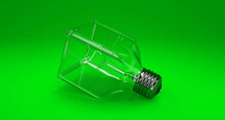 Illustration of a square bulb on a green background illustration