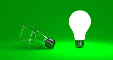 flair: Illustration of a bright lamp against other switched off Stock Photo