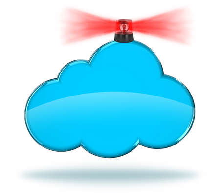 red siren: Illustration of a blue cloud with red siren