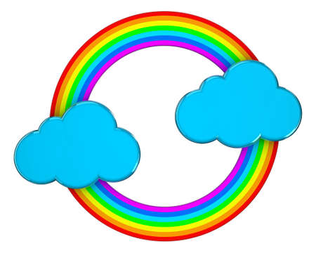 Illustration of blue clouds connected by a rainbow Stock Illustration - 14589670